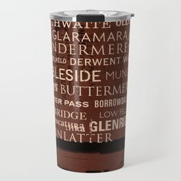 English Lake District Typographic Print (Red) Travel Mug