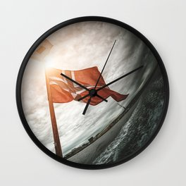 norway flag in oslo Wall Clock