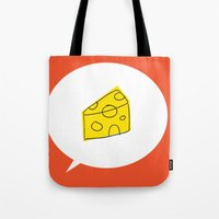 cheese Tote Bags featuring cheese by ariel kotzer