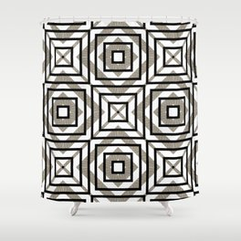 Gray, Gold, and White Geometric Abstract Shower Curtain
