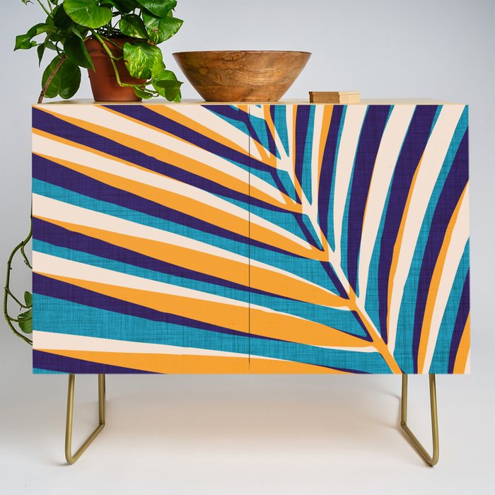 Gold and Navy Abstract Palm Frond Credenza