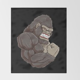 Gorilla At The Gym | Fitness Training Muscles Throw Blanket