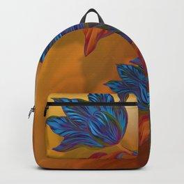 """Blue flowers on orange silk"" (Air Spring at night) Backpack"