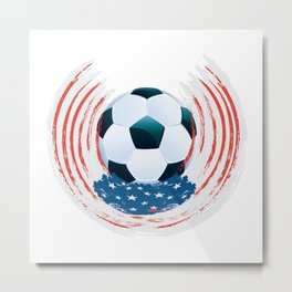 Football Ball and red, white Strokes Metal Print
