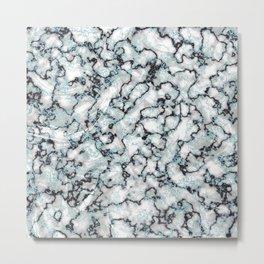 White Black & Mint Metallic Marble Texture Metal Print