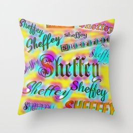 Sheffey Fonts - Yellow and Pink Rainbow 9642 Throw Pillow