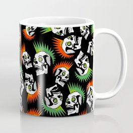 Punk skull mohawk black pattern - punk rock skulls - punk style - punks not dead - anarchy Coffee Mug