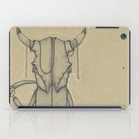 animal skull iPad Cases featuring Bull Skull Guy Spirit Animal by Drawn by Lex