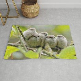 Heartwarming Songbirds Family Portrait: Five Bushtit Brothers Rug