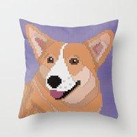 corgi Throw Pillows featuring Corgi by Raewyn Haughton
