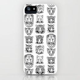 Kickass Kitties - black on white iPhone Case