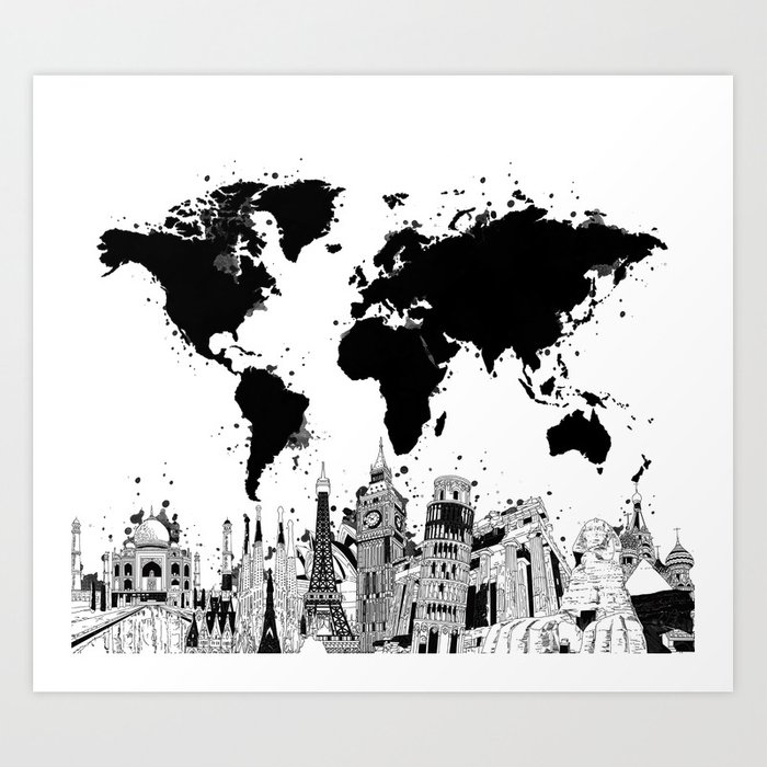 World map city skyline 4 art print by bekimart society6 world map city skyline 4 art print gumiabroncs Image collections