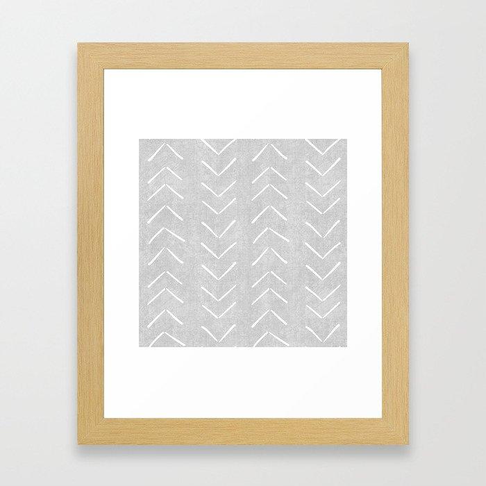 Mudcloth Big Arrows in Grey Framed Art Print