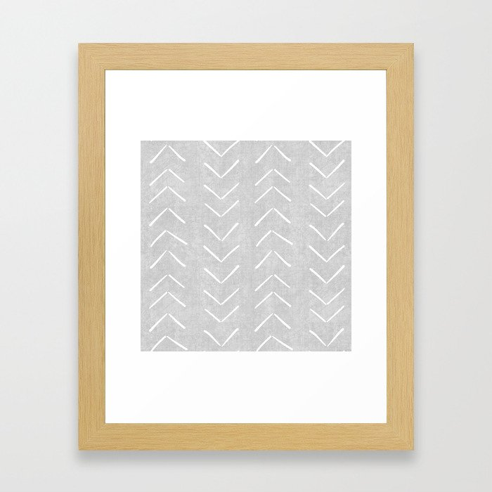 Mudcloth Big Arrows in Grey Framed Art Print