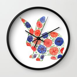 Bunny Silhouette with whimsical flowers Wall Clock