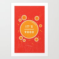 dragonball Art Prints featuring IT'S OVER 9000 (Dragonball) by Jacob Waites