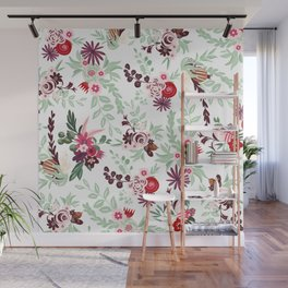 Abstract red pastel green pink country floral pattern Wall Mural