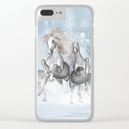 Awesome running horses Clear iPhone Case