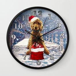 Christmas Golden Doodle Wall Clock