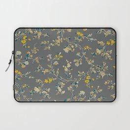 vintage floral vines - greys & mustard Laptop Sleeve