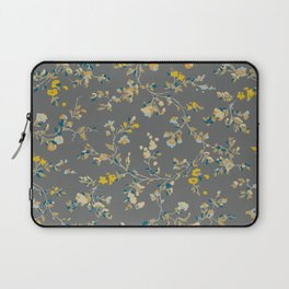 vintage floral vines - greys & mustard Laptop Sleeve
