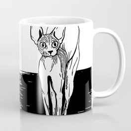Black and White Sphynx Cat Line Drawing - Sphynx Lovers Gift - Naked Cat - Wrinkly Kitty Coffee Mug