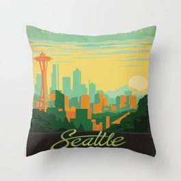 Vintage poster - Seattle Throw Pillow