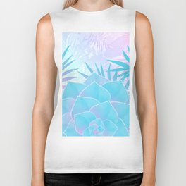 Pastel Rainbow Tropical Flower Paradise Design Biker Tank