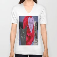 three of the possessed V-neck T-shirts featuring THREE by Aldo Couture
