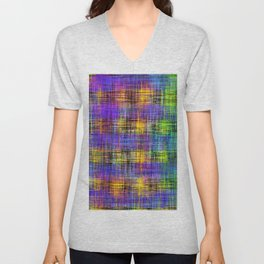 plaid pattern abstract texture in purple yellow green Unisex V-Neck