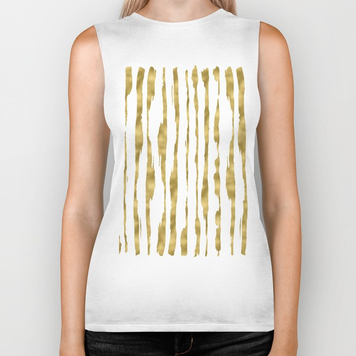 Small uneven hand painted gold stripes on clear white - vertical pattern Biker Tank