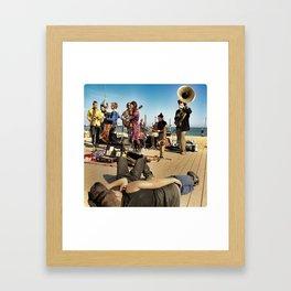 Street Musicians in Barceloneta Framed Art Print