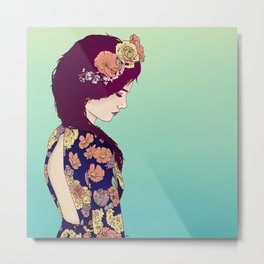 Yellow Garden Lady Metal Print
