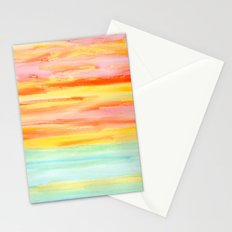 Be Yourself And Fall In Love - abstract painting stripes orange yellow landscape sunset fall Stationery Cards
