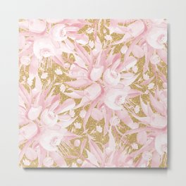 Pastel pink white gold glitter watercolor floral  Metal Print