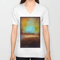 swimming V-neck T-shirts featuring Swimming by Liz Moran