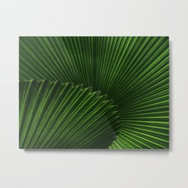 Tropical Green Palm Fan Leaf Geometric Stripe Textured Origami Pattern Metal Print