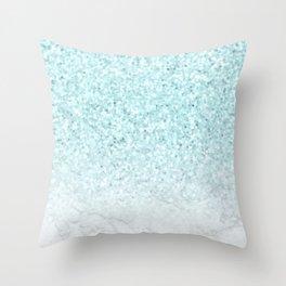 Pretty Turquoise Marble Sparkle Throw Pillow