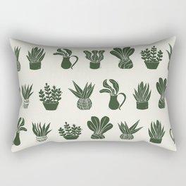 Green on Ivory houseplant linocut pattern  Rectangular Pillow