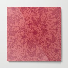 Victorian Floral in Mauve and Burgundy Metal Print