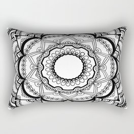 Black and White Mandala Drawing Rectangular Pillow