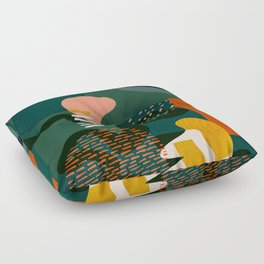 mid century shapes garden party Floor Pillow