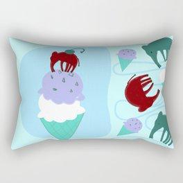 Elephants Love Ice Cream Blue Rectangular Pillow