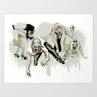 zombies Art Prints featuring Zombies. by Pens and Pedals