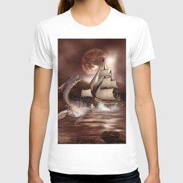 Awesome seadragon with ship T-shirt