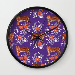 Tiger Clemson purple and orange florals university fan variety college football Wall Clock