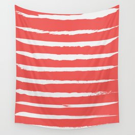 Irregular Hand Painted Stripes Coral Red Wall Tapestry