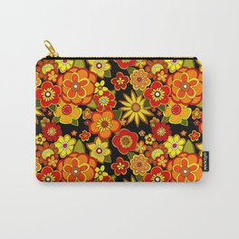 Super groovy flowers Black base orange Carry-All Pouch