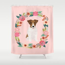 jack russell terrier floral wreath dog breed pet portrait pure breed dog lovers Shower Curtain