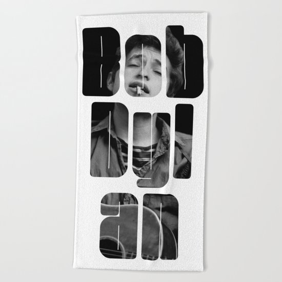 Bob Dylan Font Black And White Beach Towel